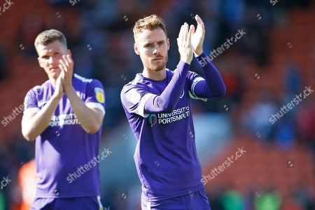 Tom Naylor of Portsmouth applauds the fans at full time during the EFL Sky Bet League 1 match between Blackpool and Portsmouth at Bloomfield Road, Blackpool