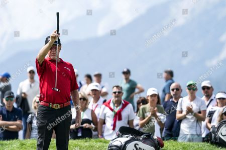 Miguel Angel Jimenez of Spain during the third round of the European Masters golf tournament in Crans-Montana, Switzerland, 31 August 2019.