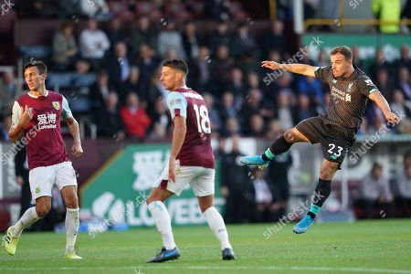 Liverpool's Xherdan Shaqiri looks on as his shot at goal is saved Terry Donnelly/Mercury Press The Premier League - Burnley v Liverpool - Saturday 31st Aug 2019 - Turf Moor - Burnley