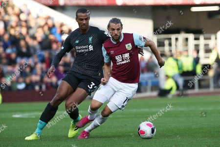 Burnley forward Jay Rodriguez (19) and Liverpool defender Joel Matip (32) during the Premier League match between Burnley and Liverpool at Turf Moor, Burnley