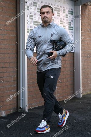 Stock Picture of Liverpool midfielder Xherdan Shaqiri (23) arrives for the Premier League match between Burnley and Liverpool at Turf Moor, Burnley