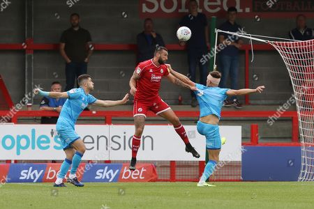 Sean Long, Ollie Palmer and Charlie Raglan   during the EFL Sky Bet League 2 match between Crawley Town and Cheltenham Town at The People's Pension Stadium, Crawley