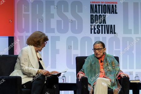US Supreme Court Justice Ruth Bader Ginsburg (R) and journalist Nina Totenberg (L) participate in a presentation at the National Book Festival presented by the Library of Congress at the Walter E. Washington Convention Center in Washington, DC, USA, 31 August 2019.