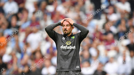 Stock Photo of WSPIX;16:9. Norwich City's Josip Drmic reacts during the English Premier League soccer match between West Ham United and Norwich at London Stadium in London