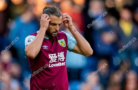 Burnley's Jay Rodriguez reacts during the English Premier League soccer match between Burnley and Liverpool held at the Turf Moor in Burnley, Britain, 31 August 2019.