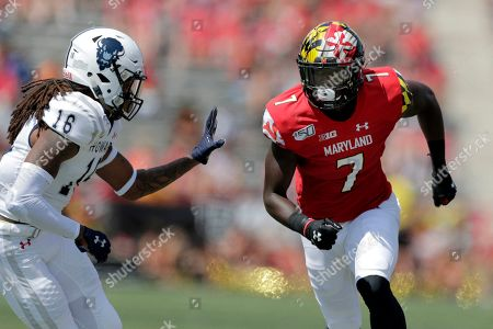 Maryland wide receiver Dontay Demus Jr. runs a route against Howard defensive back John Smith VI during the first half of an NCAA college football game, in College Park, Md