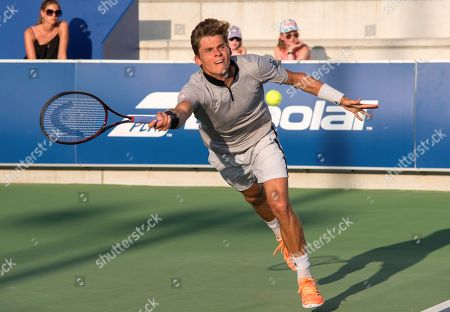 Stock Picture of Daniel Masur of Germany returns the ball to Matteo Viola of Italy during their men's Rafa Nadal Open semi final match in Manacor, Mallorca, Spain, 31 August 2019.