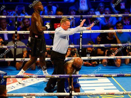 Joshua Buatsi vs Ryan Ford during their WBA International Light-Heavyweight Championship fight