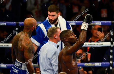 Joshua Buatsi celebrates his win against Ryan Ford in the WBA International Light-Heavyweight Championship fight