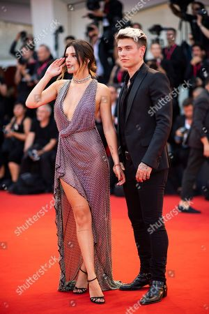 Bella Thorne, Benjamin Mascolo. Actress Bella Thorne, left, and singer Benjamin Mascolo pose for photographers upon arrival at the premiere of the film 'Joker' at the 76th edition of the Venice Film Festival, Venice, Italy