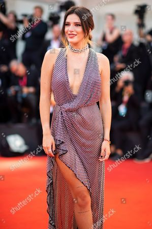 Bella Thorne poses for photographers upon arrival at the premiere of the film 'Joker' at the 76th edition of the Venice Film Festival, Venice, Italy
