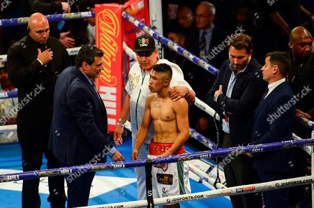 Charlie Edwards vs Julio Cesar Martinez during their WBC World Flyweight Championship fight The fight ends in a no contest