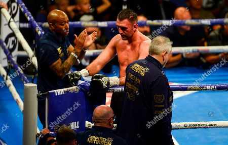 Hughie Fury vs Alexander Povetkin during their vacant WBA International Heavyweight Championship fight Dejected Hughie Fury at the end of the fight