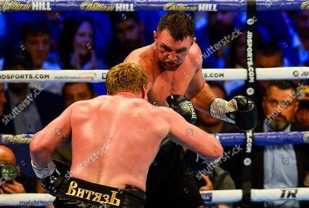 Hughie Fury vs Alexander Povetkin during their vacant WBA International Heavyweight Championship fight
