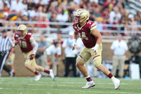 Chestnut Hill, MA, USA; Boston College Eagles linebacker Joseph Sparacio (34) in action during the NCAA football game between Virginia Tech Hokies and Boston College Eagles at Alumni Stadium