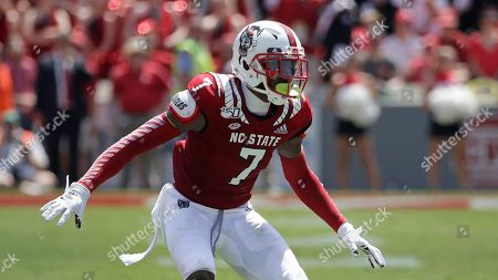 Stock Image of North Carolina State cornerback Chris Ingram (7) defends a pass play during the first half of an NCAA college football game against East Carolina in Raleigh, N.C