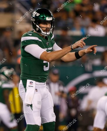 Stock Picture of New York Jets quarterback Davis Webb calls out a play against the Philadelphia Eagles during a preseason NFL football game, in East Rutherford, N.J