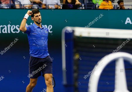 Novak Djokovic (SRB) celebrates his win in his third round match against Denis Kudla (USA)