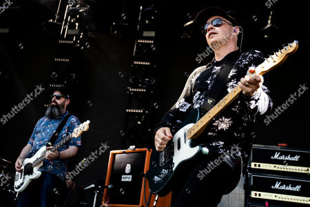Dominic Aitchison (L) and Stuart Braithwaite (R) of Mogwai performs on stage during the Daydream Festival at the Rose Bowl in Pasadena, California, USA, 31 August 2019. The festival only runs for one day.