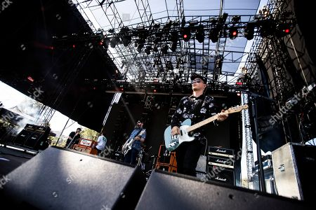Dominic Aitchison (C) and Stuart Braithwaite (R) of Mogwai performs on stage during the Daydream Festival at the Rose Bowl in Pasadena, California, USA, 31 August 2019. The festival only runs for one day.
