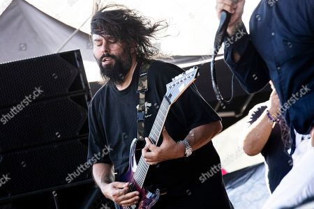 Stock Image of Stephen Carpenter of the Deftones performs on stage during the Daydream Festival at the Rose Bowl in Pasadena, California, USA, 31 August 2019. The festival only runs for one day.