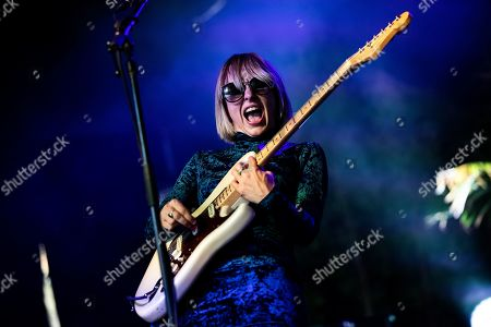 Ritzy Bryan of The Joy Formidable performs on stage during the Daydream Festival at the Rose Bowl in Pasadena, California, USA, 31 August 2019.