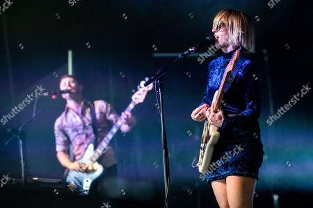 Ritzy Bryan (R) and Rhydian Dafydd (L) of The Joy Formidable perform on stage during the Daydream Festival at the Rose Bowl in Pasadena, California, USA, 31 August 2019.