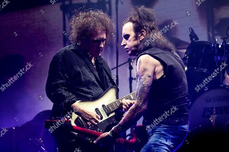 Robert Smith (L) and Simon Gallup of the band The Cure perform on stage during the Daydream Festival at the Rose Bowl in Pasadena, California, USA, 31 August 2019. The festival only runs for one day.