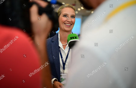 Alice Weidel, Bundestag faction co-chairwoman of the Alternative for Germany (AfD) right-wing populist party, speaks to the media during the Saxony state elections in Dresden, Germany, 01 September 2019. According to the Statistical Office of Saxony some 3.3 million people were eligible to vote in the regional elections for a new parliament in the German Free State of Saxony.