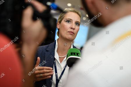 Alternative fuer Deutschland party (AfD) faction co-chairwoman in the German parliament Bundestag Alice Weidel speaks to RT media during the Saxony state elections in Dresden, Germany, 01 September 2019. According to the Statistical Office of Saxony some 3.3 million people were eligible to vote in the regional elections for a new parliament in the German Free State of Saxony.