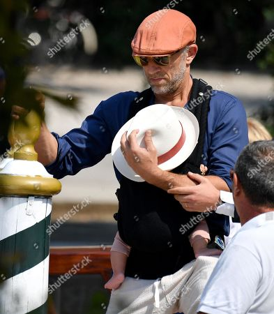 Vincent Cassel with his son leaves the Lido Beach for the 76th annual Venice International Film Festival, in Venice, Italy, 01 September 2019. The festival runs from 28 August to 07 September.