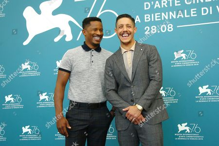 Nate Parker, Theo Rossi. Director Nate Parker, left, and actor Theo Rossi pose for photographers at the photo call for the film 'American Skin' at the 76th edition of the Venice Film Festival in Venice, Italy