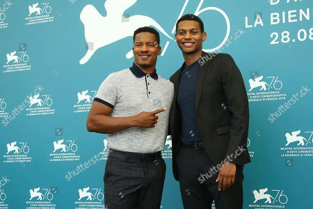 Nate Parker, Theo Rossi. Director Nate Parker, left, and actor Shane Paul McGhie pose for photographers at the photo call for the film 'American Skin' at the 76th edition of the Venice Film Festival in Venice, Italy