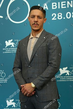 Theo Rossi poses for photographers at the photo call for the film 'American Skin' at the 76th edition of the Venice Film Festival in Venice, Italy