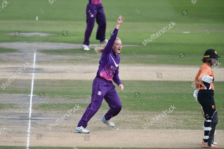 Sarah Glenn of Loughborough Lightning appeals for the wicket of Danielle Wyatt during the Kia Women's Cricket Super League semi-final match between Loughborough Lightning and Southern Vipers at the 1st Central County Ground, Hove