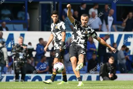 Wolverhampton Wanderers midfielder Romain Saiss (27) warming up during the Premier League match between Everton and Wolverhampton Wanderers at Goodison Park, Liverpool