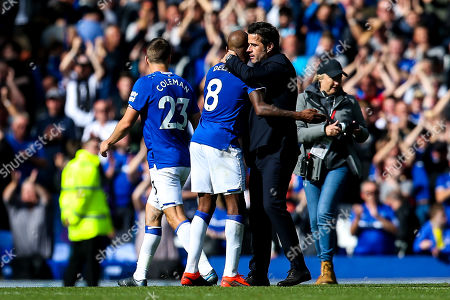 Everton manager Marco Silva celebrates victory over Wolverhampton Wanderers with Fabian Delph of Everton
