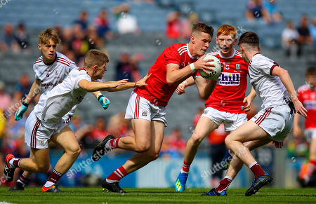Stock Image of Cork vs Galway . Cork's Michael O'Neill with Liam Tevnan of Galway