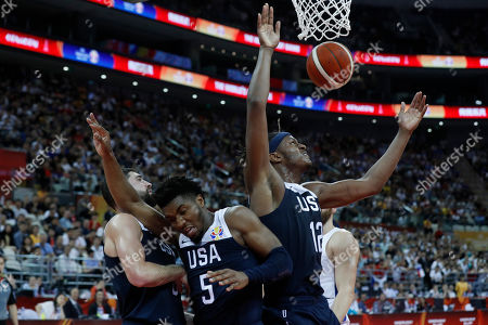 Donovan Mitchell of USA (C) and Myles Turner of USA (R) in action during the FIBA Basketball World Cup 2019 group E first ?round? match between Czech Republic and USA in Shanghai, China, 01 September 2019.