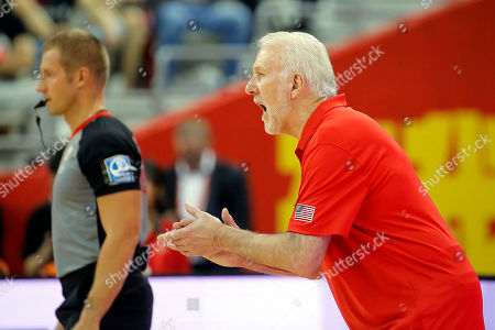 USA team coach Gregg Popovich reacts during the FIBA Basketball World Cup 2019 group E first ?round? match between Czech Republic and USA in Shanghai, China, 01 September 2019.