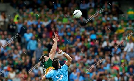 Dublin vs Kerry. Kerry's David Moran and Michael Darragh Macauley of Dublin