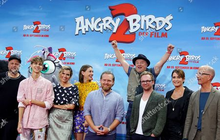 German voice actors rapper Smudo, singer Lukas Rieger, comedian Anke Engelke, actress Christiane Paul, actor Axel Stein, actor Axel Prahl, comedian Ralf Schmitz, actress Anja Kling and actor Christoph Maria Herbst attend the Germany premiere of the movie 'Angry Birds 2' in Berlin, Germany, 01 September 2019.