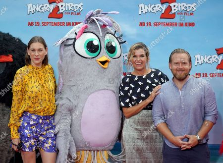 German voice actors, Christiane Paul (L), Axel Stein (R) and Anke Engelke attend the German premiere of the movie 'Angry Birds 2' in Berlin, Germany, 01 September 2019.