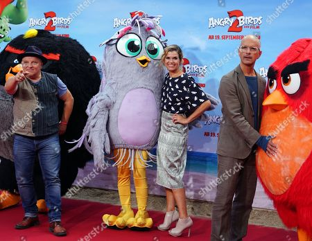 German voice actors Axel Prahl, Anke Engelke and Christoph Maria Herbst attend the German premiere of the movie 'Angry Birds 2' in Berlin, Germany, 01 September 2019.