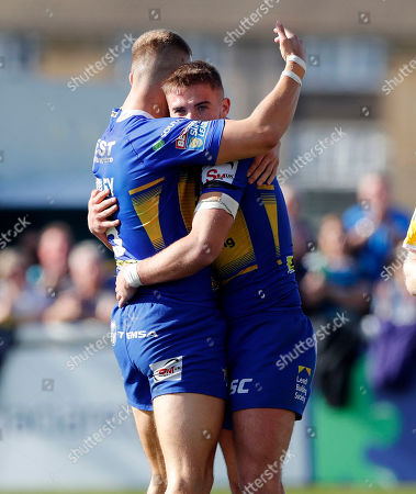 Jack Walker (R) is congratulated on his second try for Leeds by Ash Handley (L) during London Broncos vs Leeds Rhinos, Betfred Super League Rugby League at Trailfinders Sports Club on 1st September 2019