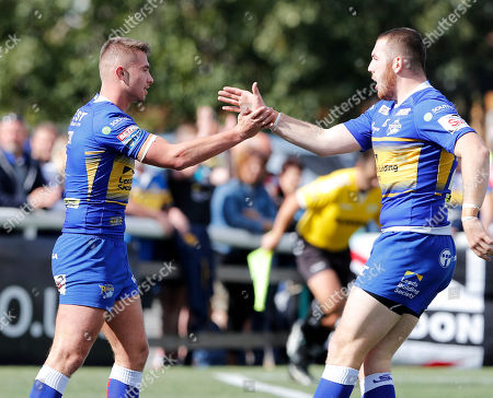Jack Walker (L) is congratulated on his first try for Leeds by Cameron Smith during London Broncos vs Leeds Rhinos, Betfred Super League Rugby League at Trailfinders Sports Club on 1st September 2019