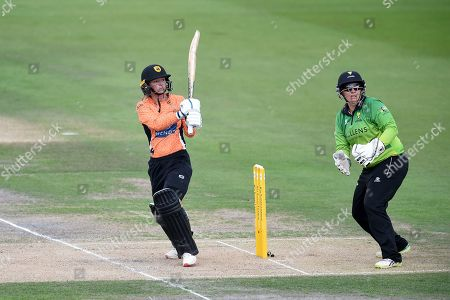 Danielle Wyatt of Southern Vipers plays a lofted shot to be boundary for four runs during the Kia Women's Cricket Super League Final match between Western Storm and Southern Vipers at the 1st Central County Ground, Hove