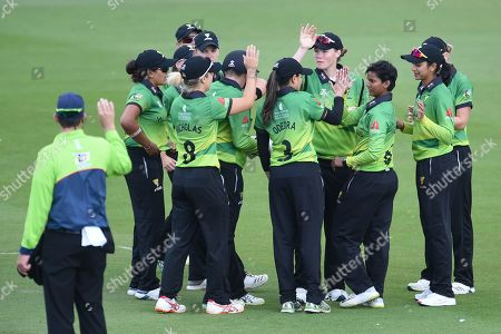 Western Storm celebrate the wicket of Danielle Wyatt during the Kia Women's Cricket Super League Final match between Western Storm and Southern Vipers at the 1st Central County Ground, Hove