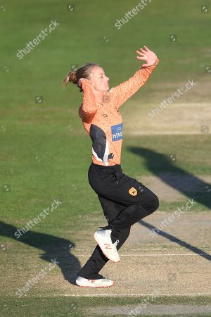 Stock Image of Danielle Wyatt of Southern Vipers bowling during the Kia Women's Cricket Super League Final match between Western Storm and Southern Vipers at the 1st Central County Ground, Hove