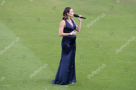 Soprano Laura Wright entertaining the crowd ahead of the Kia Women's Cricket Super League Final match between Western Storm and Southern Vipers at the 1st Central County Ground, Hove